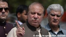 June 15, 2017*** Pakistan's Prime Minister Nawaz Sharif speaks to media after appearing before an anti-corruption commission at the Federal Judicial Academy in Islamabad on June 15, 2017. Pakistan's prime minister Nawaz Sharif appeared before an anti-corruption investigation commission June 15, in an ongoing case that has gripped Pakistan and threatened to topple him after the Panama Papers leak last year. / AFP PHOTO / AAMIR QURESHI (Photo credit should read AAMIR QURESHI/AFP/Getty Images)