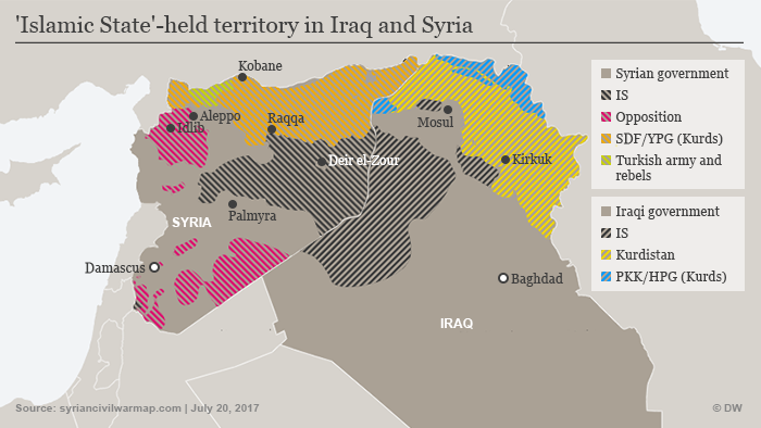 Map showing IS-held territory in the Middle East