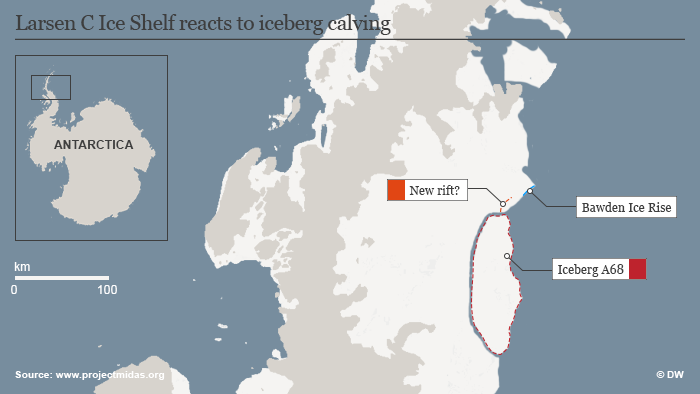 Infographic: Larsen C Ice Shelf reacts to iceberg calving ENG
