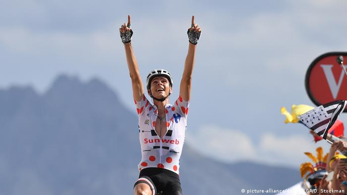 French Warren Barguil of Team Sunweb celebrates after winning the eighteenth stage of the 104th edition of the Tour de France cycling race, 179,5km from Briancon to Col d'Izoard, France, Thursday 20 July 2017. This year's Tour de France takes place from July first to July 23rd.