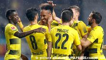GUANGZHOU, July 18, 2017 Pierre-Emerick Aubameyang (3rd L) of Borussia Dortmund celebrates scoring the penalty with teammates during the 2017 International Champions Cup (ICC) China soccer match between AC Milan and Borussia Dortmund at Guangzhou University Town Sports Center Stadium in Guangzhou, capital of south China's Guangdong Province, on July 18, 2017. Borussia Dortmund won 3-1 |