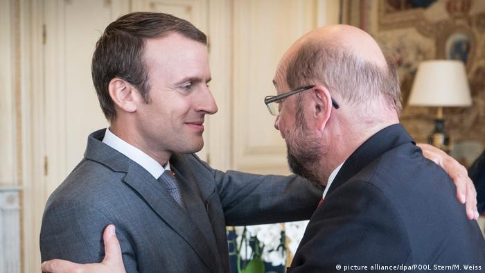 Emmanuel Macron and Martin Schulz