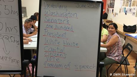 The white board at an immigration class where the students practice for the US citizenship test
