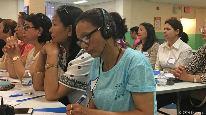 Women attend an event for domestic workers in New York City