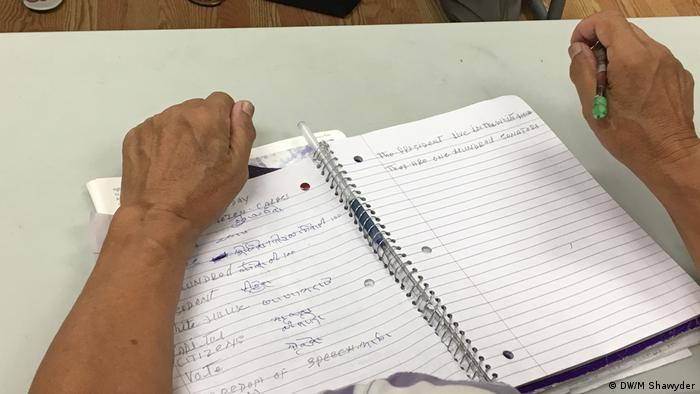 A notebook of one of the students at a course for Nepali immigrants to the US