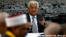 Palestinian president Mahmoud Abbas gives a speech during a meeting of Palestinian leadership in the West Bank city of Ramallah on July 21, 2017, during which he announced freezing contacts with Israel over new security measures the highly sensitive Jerusalem holy site of Al-Aqsa mosque compound, known to Jews as the Temple Mount, after deadly clashes erupted earlier the same day. The new security measures include metal detectors, security cameras, and barring men under 50 from entering the Old City for Friday Muslim prayers, and came after an attack that killed two Israeli policemen the previous week. / AFP PHOTO / ABBAS MOMANI (Photo credit should read ABBAS MOMANI/AFP/Getty Images)