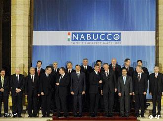 Participants of the Nabucco Gas Pipeline Conference are seen together in a group photo in the Parliament building in Budapest, Hungary, Tuesday, Jan. 27, 2009. Hungary hosts a summit with the supporters of the planed, new European gas pipeline project Nabucco, which would travel from Turkey to Europe to bring 1.1 trillion cubic feet of natural gas each year to diversify the continent's energy sector. (AP Photo/Bela Szandelszky)