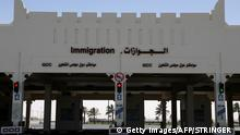 A picture shows the Qatari side of the Abu Samrah border crossing between Saudi Arabia and Qatar, on June 20, 2017. On June 5, Saudi Arabia and its allies cut all diplomatic ties with Qatar, pulling their ambassadors from the gas-rich emirate and giving its citizens a two-week deadline to leave their territory. The measures also included closing Qatar's only land border, banning its planes from using their airspace and barring Qatari nationals from transiting through their airports. / AFP PHOTO / STRINGER (Photo credit should read STRINGER/AFP/Getty Images)
