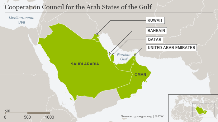 Karte Mitgledsstaaten Gulf Cooperation Council ENG