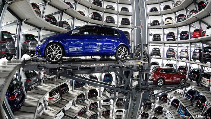 VW Golfs are loaded in a delivery tower at the plant of German carmaker Volkswagen in Wolfsburg, Germany (Reuters/F.Bimmer)