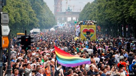 Revellers take part in the annual Gay Pride parade, also called Christopher Street Day parade (CSD), in Berlin