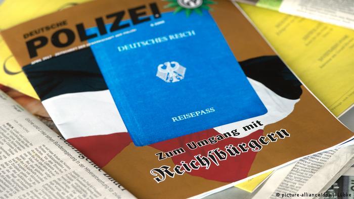 Reichsbürger materials from a newspaper