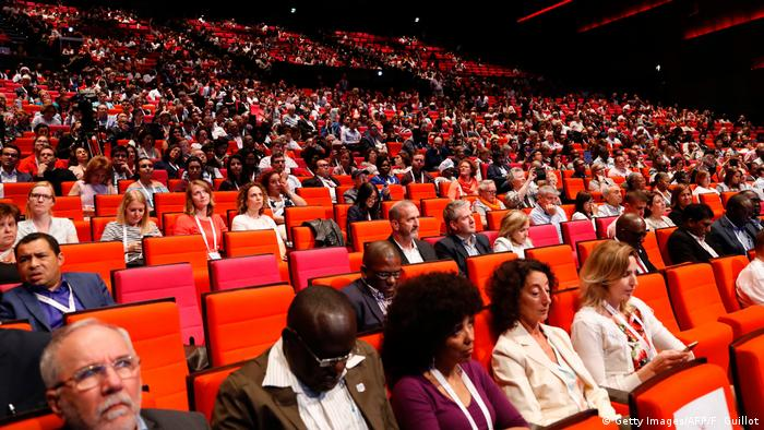 Attendees at the 9th International AIDS Society Conference in Paris