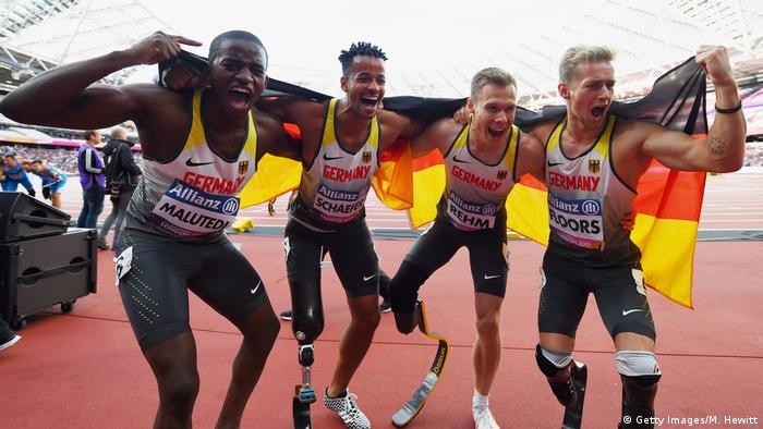 Germany's winning relay team at the London championships