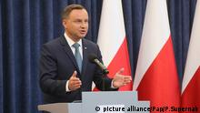 Polish President Andrzej Duda during a press conference in the Presidential Palace in Warsaw, Poland, 24 July 2017. President Duda said in a statement that he will veto Supreme Court and National Judiciary Council bills. PAP/Pawel Supernak POLAND OUT  