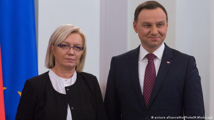 Julija Pržilebska, predsednica Ustavnog suda i predsednik Poljske Andžej Duda (arhivska fotografija)