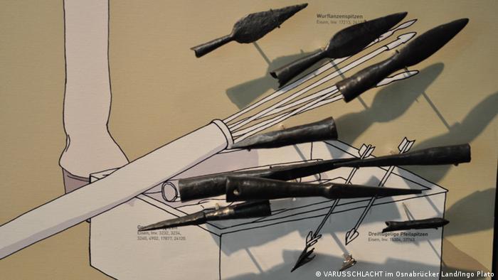 Dardos romanos e pontas de flechas