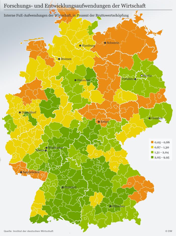 Infografik Karte Forschungs- und Entwicklungsaufwendungen der Wirtschaft