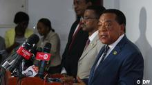 Tanzania's foreigns affairs minister Dr. Augustine Mahiga, addressing journalists in Dar es Salaam Tanzania. TAlking about the Kenya and Tanzania agreement to remove trade restrictions on some products (wheat and gas from Tanzania) and (cigarettes and milk from Kenya)