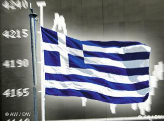 Greek flag in front of a stock market board showing market crash