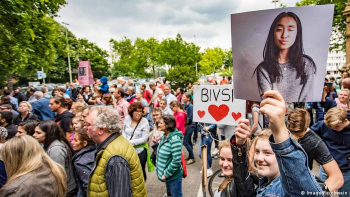 Scores of Bivsi's classmates and supporters stages rallies in support of the German-born girl