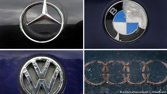 Logos Mercedes, BMW, VW und Audi (picture-alliance/dpa/K.-J. Hildenbrand)