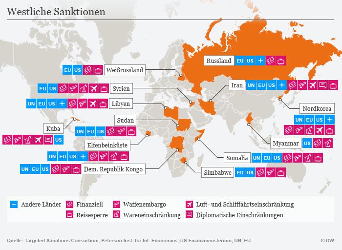 Infografik Karte westliche Sanktionen DEU