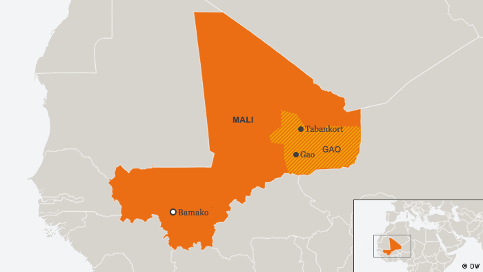 Map of Mali showing Gao region and Tabankort