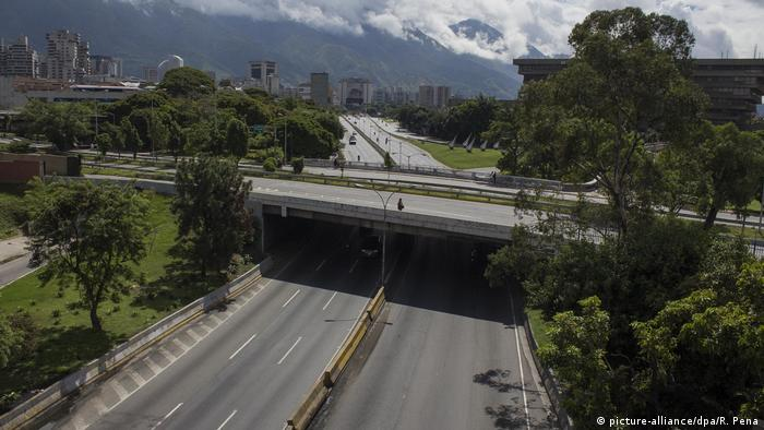 The Francisco Fajardo highway in Caracas was largely empty on Wednesday