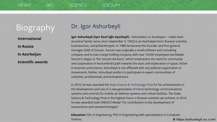 Screenshot Website Dr. Igor Ashurbeyli (https://ashurbeyli.eu.com/)