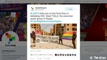 Screenshot Twitter- LGBT military unit fighting in Syria (Twitter)