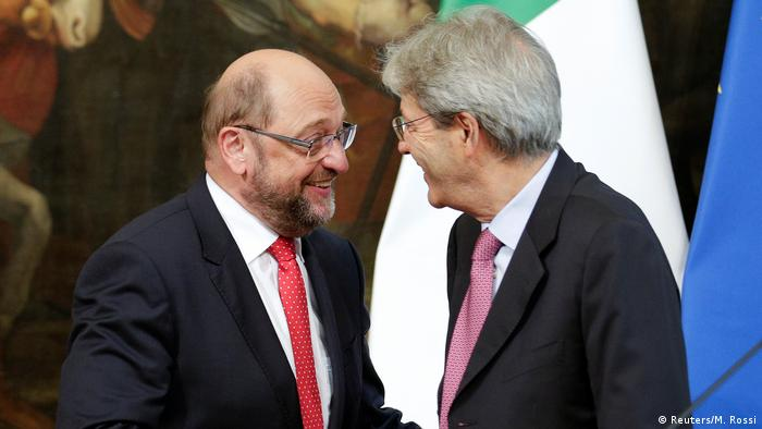 SPD leader Martin Schulz met with Italian Prime Minister Paolo Gentiloni in Rome on Thursday.