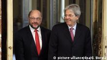 Kanzlerkandidat Martin Schulz und Italiens Ministerpräsident Paolo Gentiloni treten in Rom gemeinsam vor die Presse