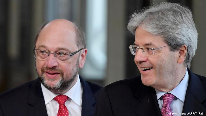 SPD's Martin Schulz in Rome with Italian Prime Minister Paolo Gentiloni