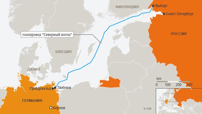 Маршрут газопровода Северный поток - инфографика