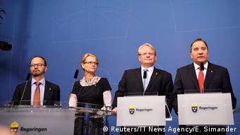 Swedish Prime Minister Lofven (r), Defense Minister Hultqvist (2nd from r), who says he's staying, appear with new ministers Thomas Eneroth and Helene Fritzon at a press confernce anouncing the government's cabinet reshuffle in Rosenbad on Thursday.