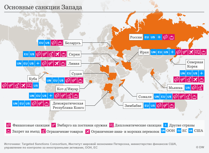 Infografik Karte westliche Sanktionen RUS