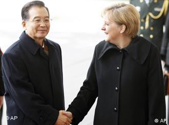 German Chancellor Angela Merkel with Chinese Premier Wen Jiabao