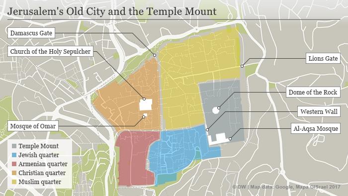 Map showing Jerusalem's Old City