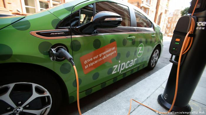 File photo of an electric vehicle that is plugged into a charging point on a street in central London