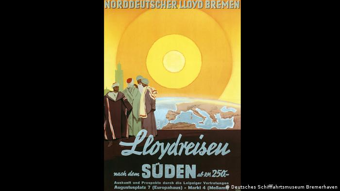 Ad for shipping company Norddeutscher Lloyd Bremen, ca. 1935, from The Blind Spot exhibition at Kunsthalle Bremen (VG Bild-Kunst)