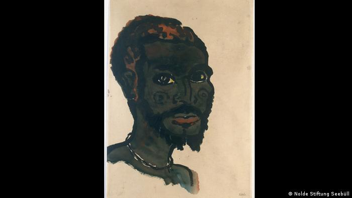 Man's Head, Emil Nolde, 1913-14, from The Blind Spot exhibition at Kunsthalle Bremen (Nolde Stiftung Seebüll)