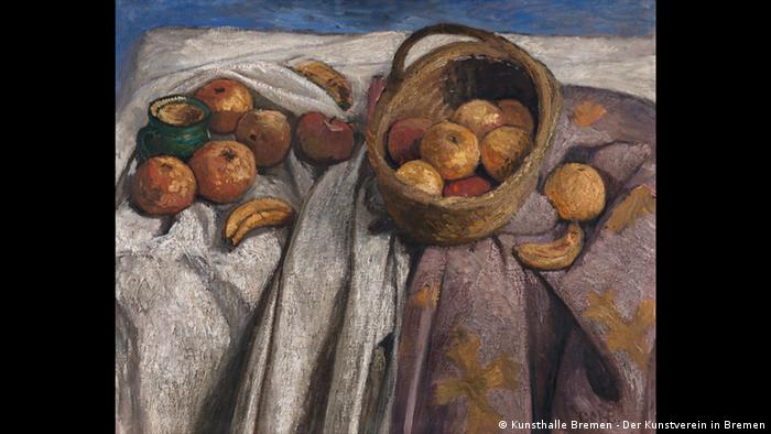 Still Life with Apples and Bananas, Paula Modersohn-Becker, 1905, from The Blind Spot exhibition at Kunsthalle Bremen (VG Bild-Kunst)