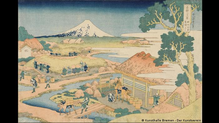 Japanese painting Mount Fuji from the Tea Plantation of Katakura in Suruga Province, 1830, from The Blind Spot exhibition in Kunsthalle Bremen (VG Bild-Kunst)