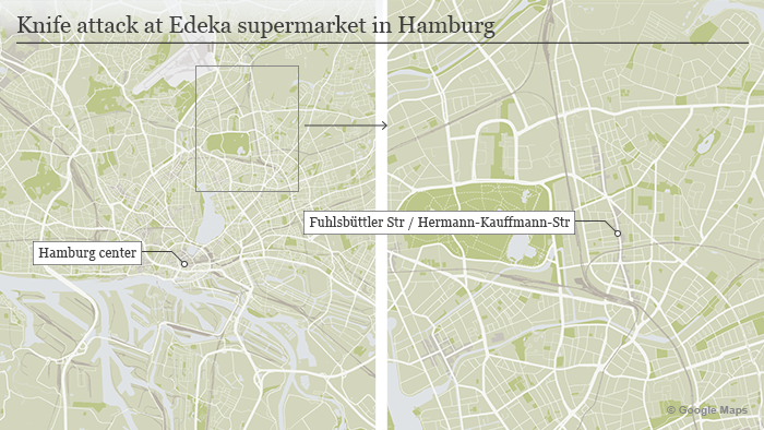 Map Knife attack at Edeka supermarket in Hamburg