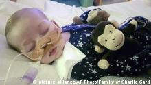 This is an undated photo of sick 11-month old baby Charlie Gard provided by his family, taken at Great Ormond Street Hospital in London. British media are reporting a family announcement that 11-month old Charlie Gard, has died Friday July 28, 2017. (Family of Charlie Gard via AP) |
