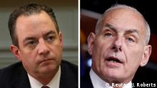 FILE PHOTO: A combination photo of Chief of Staff Reince Priebus (L) at the White House in Washington, U.S., June 26, 2017 and John Kelly on Capitol Hill in Washington, U.S., June 29, 2017. REUTERS/Carlos Barria, REUTERS/Joshua Roberts./File Photo