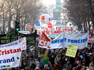 Several thousand workers demonstrate during a protest march in downtown Paris