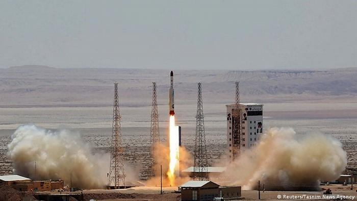 A rocket is tested at the Imam Khomeini Space Centre, Iran, in this July 2017 file image