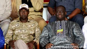 Senegal PM Mahammed Dioon (L) siting beside Dakar Mayor Alune Sall (R) (Getty Images/AFP/Seyllou)